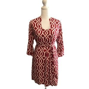 Escapada Red/White Belted Tunic Dress. Sz XS
